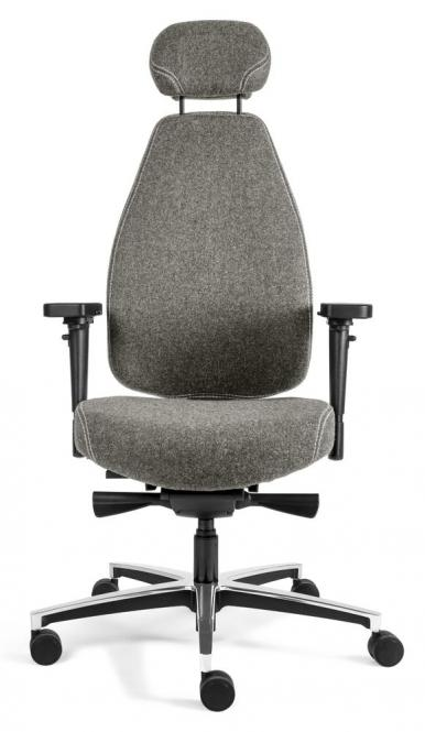 Bürodrehstuhl SenseFIT DV mit Armlehnen Hellgrau   Hohe Rückenlehne inkl. 3-dimensional verstellbarer Kopfstütze, Aluminium Fußkreuz