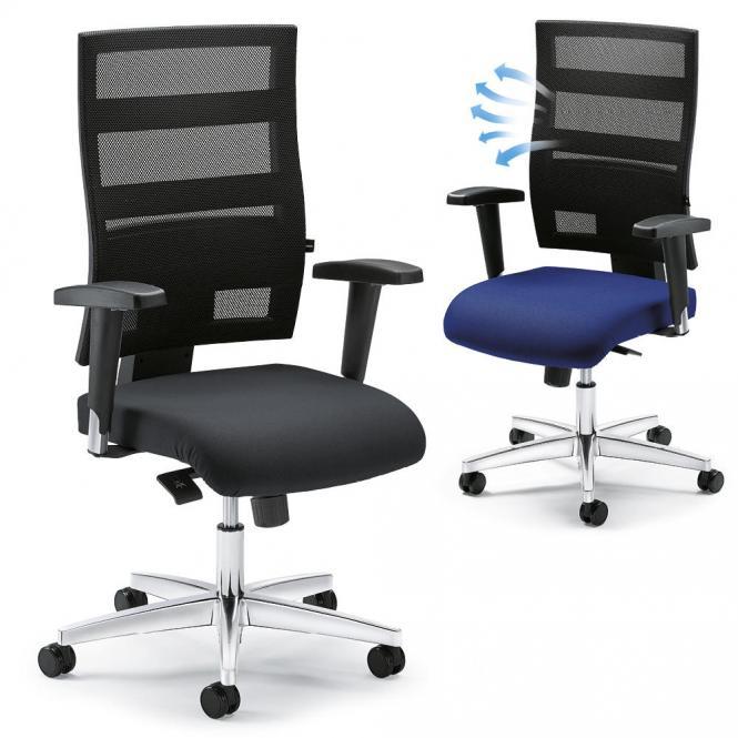 Bürodrehstuhl ecoNET, Synchron-Mechanik, Ergo-Netzrücken