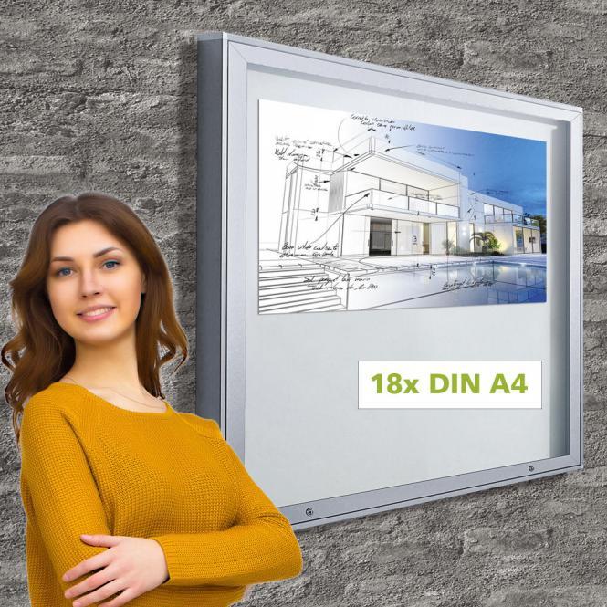 Schaukasten für Außen, mit Flügeltür 18 x DIN A4 Format 18 x DIN A4