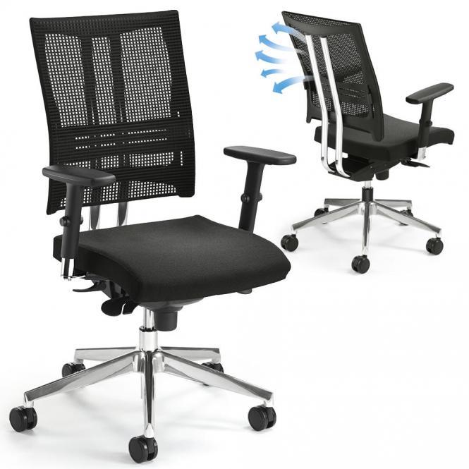 Bürodrehstuhl STAR NET mit Armlehnen Aluminium poliert