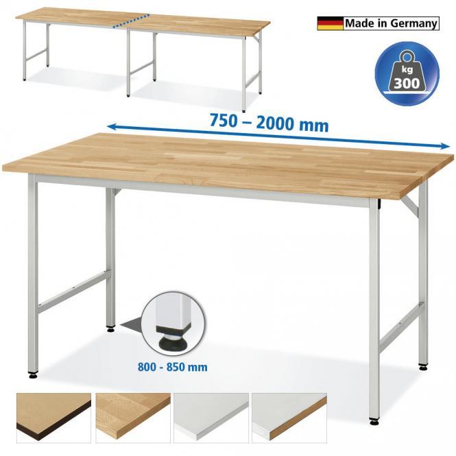 Arbeitstisch SYSTEM VK3060, Tischgestell 1 1500 | 800 | Anbautisch | Stahlblechbelag-Platte