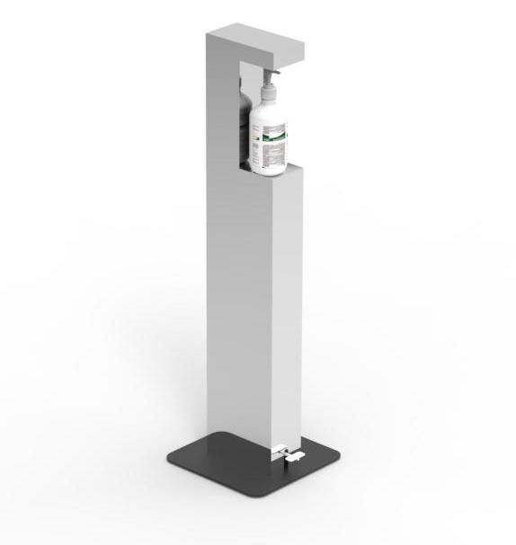 Desinfektionsmittelspender Standsäule mit Flasche Lichtgrau RAL 7035