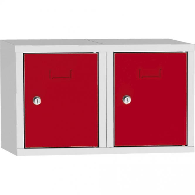 Schließfach-Aufsatzschrank, 2 Fächer Feuerrot RAL 3000 | 600