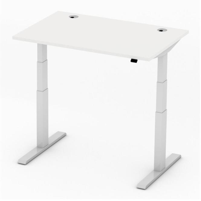 Sitz-/Stehtisch Comfort PROFI MODUL Weiß | 1200 | Alusilber RAL 9006 | Rechteck