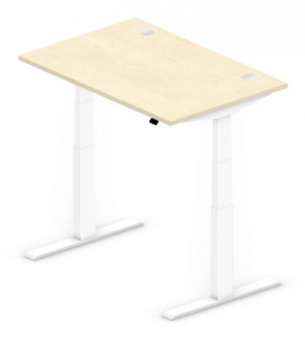 Sitz-/Stehtisch Comfort PROFI MODUL Ahorndekor | 1200 | Weiß RAL 9016
