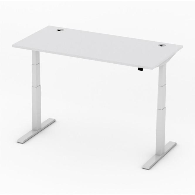 Sitz-/Stehtisch Comfort PROFI MODUL Lichtgrau | 1600 | Alusilber RAL 9006 | Rechteck