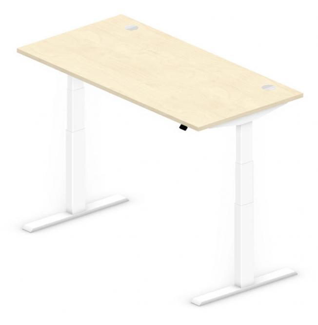 Sitz-/Stehtisch Comfort PROFI MODUL Ahorndekor | 1600 | Weiß RAL 9016