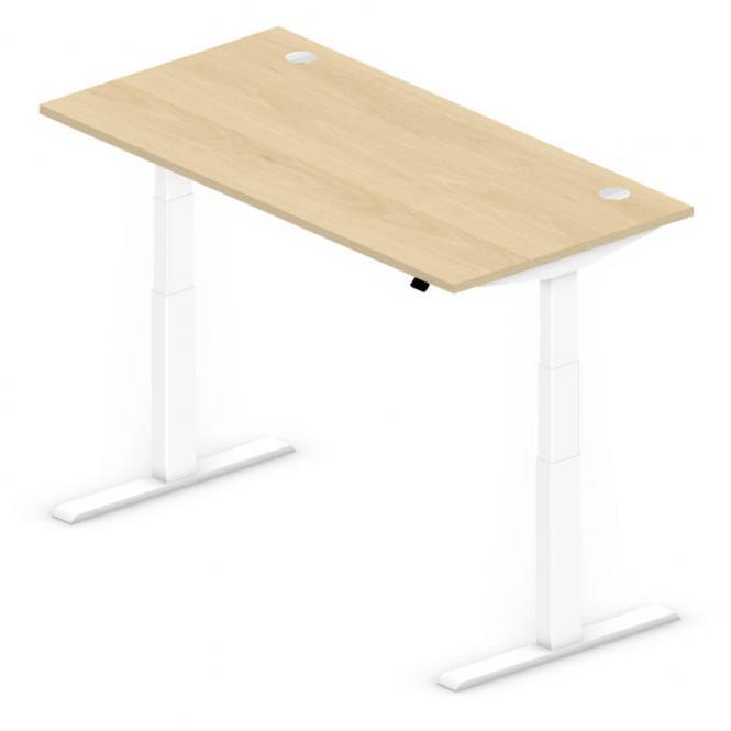 Sitz-/Stehtisch Comfort PROFI MODUL Buchedekor | 1600 | Weiß RAL 9016