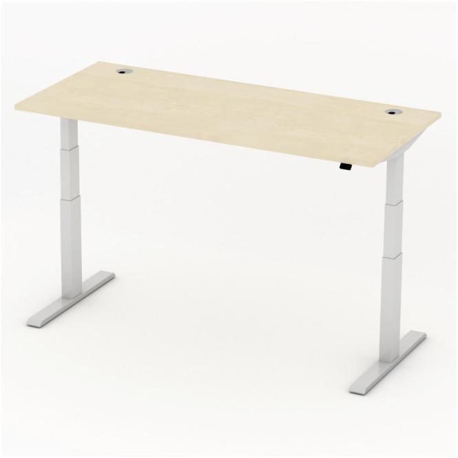 Sitz-/Stehtisch Comfort PROFI MODUL Ahorndekor | 1800 | Alusilber RAL 9006
