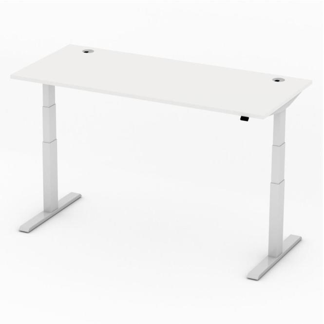 Sitz-/Stehtisch Comfort PROFI MODUL Weiß | 1800 | Alusilber RAL 9006