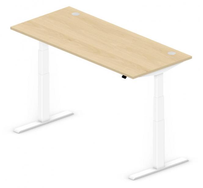 Sitz-/Stehtisch Comfort PROFI MODUL Buchedekor | 1800 | Weiß RAL 9016