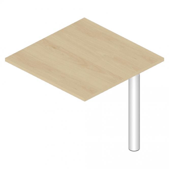 Verkettungsplatte Quadrat 800 PROFI MODUL Buchedekor | Stützfuß Alusilber