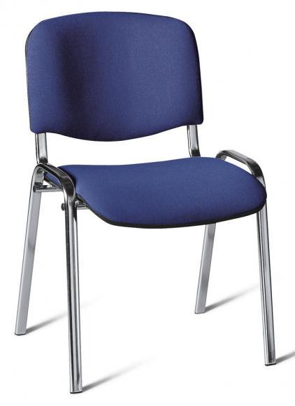 12er SET - Besucherstühle ISO Blau/Schwarz | Verchromt
