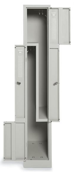 Z-Garderoben-Stahlspind mit Lüftungslöchern Lichtgrau RAL 7035 | 400 | 2 | Drehriegelverschluss