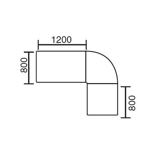 Winkelkombination Basic MULTI MODUL Ahorndekor | 2000 | 1600 | rund | Alusilber RAL 9006