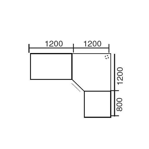 Winkelkombination Basic MULTI MODUL Lichtgrau   2400   2000   eckig   Alusilber RAL 9006