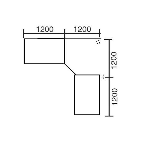 Winkelkombination Basic MULTI MODUL Ahorndekor | 2400 | 2400 | eckig | Alusilber RAL 9006