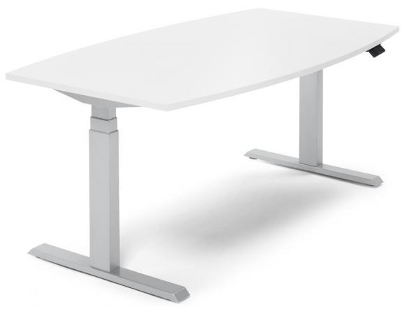 Sitz-/ Stehbesprechungstisch, höhenverstellbar Weiß   1800   Alusilber RAL 9006