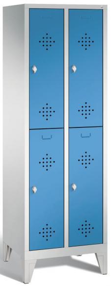 Doppelstöckiger Garderobenspind CLASSIC mit Füßen Lichtblau RAL 5012   300   4   mit Füßen