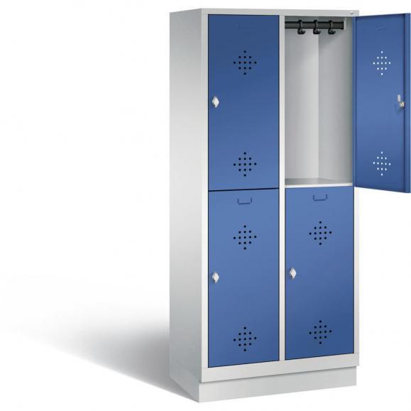 Doppelstöckiger Garderobenspind CLASSIC mit Sockel Enzianblau RAL 5010   400   4   mit Sockel