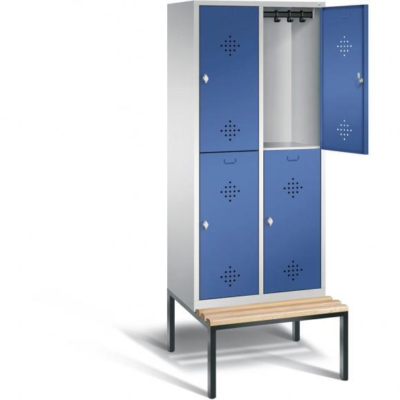 Doppelstöckiger Spind CLASSIC mit Sitzbank Enzianblau RAL 5010 | 400 | 4 | mit untergebauter Sitzbank, Holzleisten