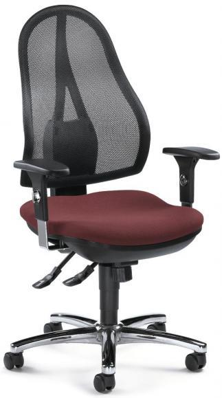 Bürodrehstuhl COMFORT NET DELUXE mit Armlehnen Schwarz/Bordeaux   verstellbare Armlehnen