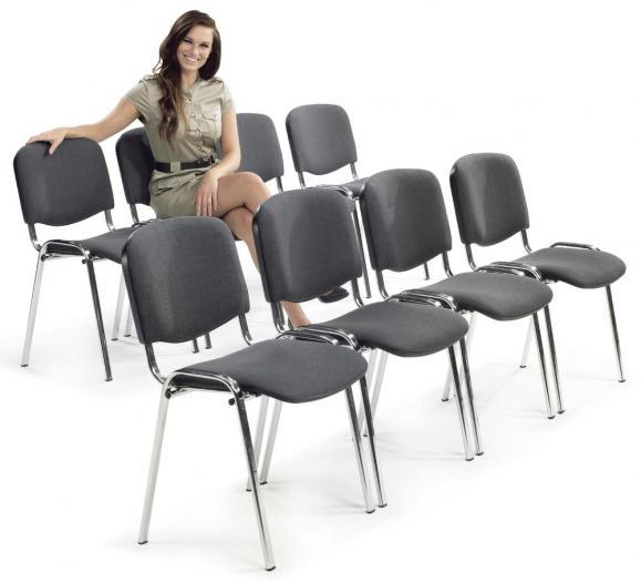 12 Besucherstühle ISO - Stoff Basic, 3 Gestellfarben