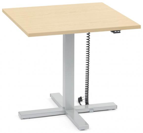 Sitz-/ Stehtisch MODUL elektromotorisch Ahorndekor | Platte Quadrat - B 800 x T 800 mm | Alusilber