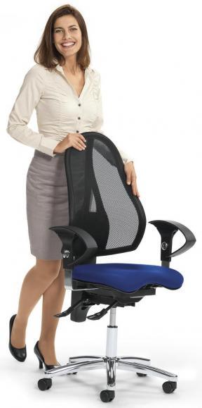 Bürodrehstuhl SITNESS 40 NET mit Armlehnen Schwarz/Blau