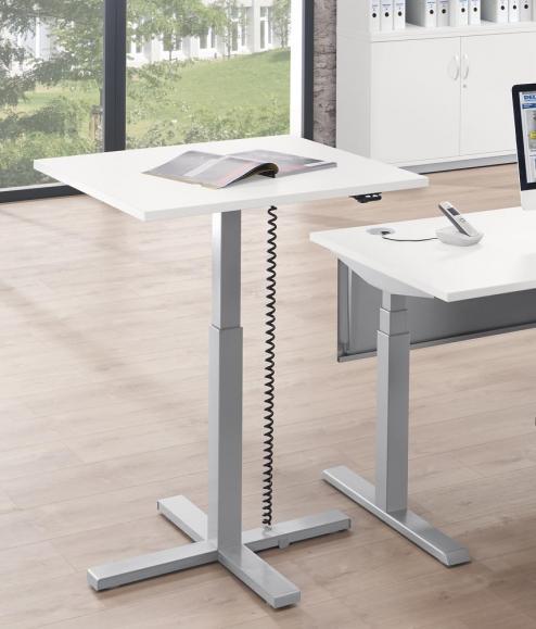 Sitz-/ Stehtisch MODUL elektromotorisch Weiß   Platte Quadrat - B 800 x T 800 mm   Alusilber