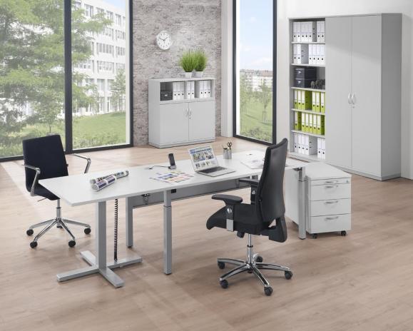 Sitz-/ Stehtisch MODUL elektromotorisch Lichtgrau | Platte Quadrat - B 800 x T 800 mm | Alusilber