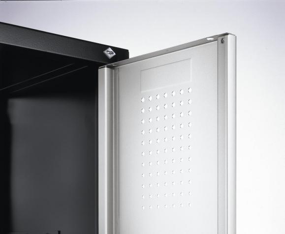 Doppelstöckiger Garderobenspind EVOLO mit Sockel Anthrazit RAL 7021 | 400 | 8 | Lichtgrau RAL 7035