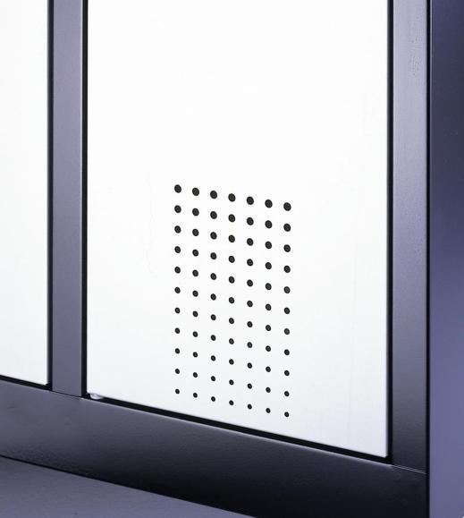Doppelstöckiger Garderobenspind EVOLO mit Füßen Lichtblau RAL 5012   400   8   Lichtgrau RAL 7035