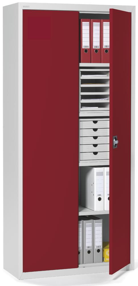 top angebot 5 oh stahlschrank mit fl gelt ren rubinrot ral 3003 bequem online bestellen bei. Black Bedroom Furniture Sets. Home Design Ideas