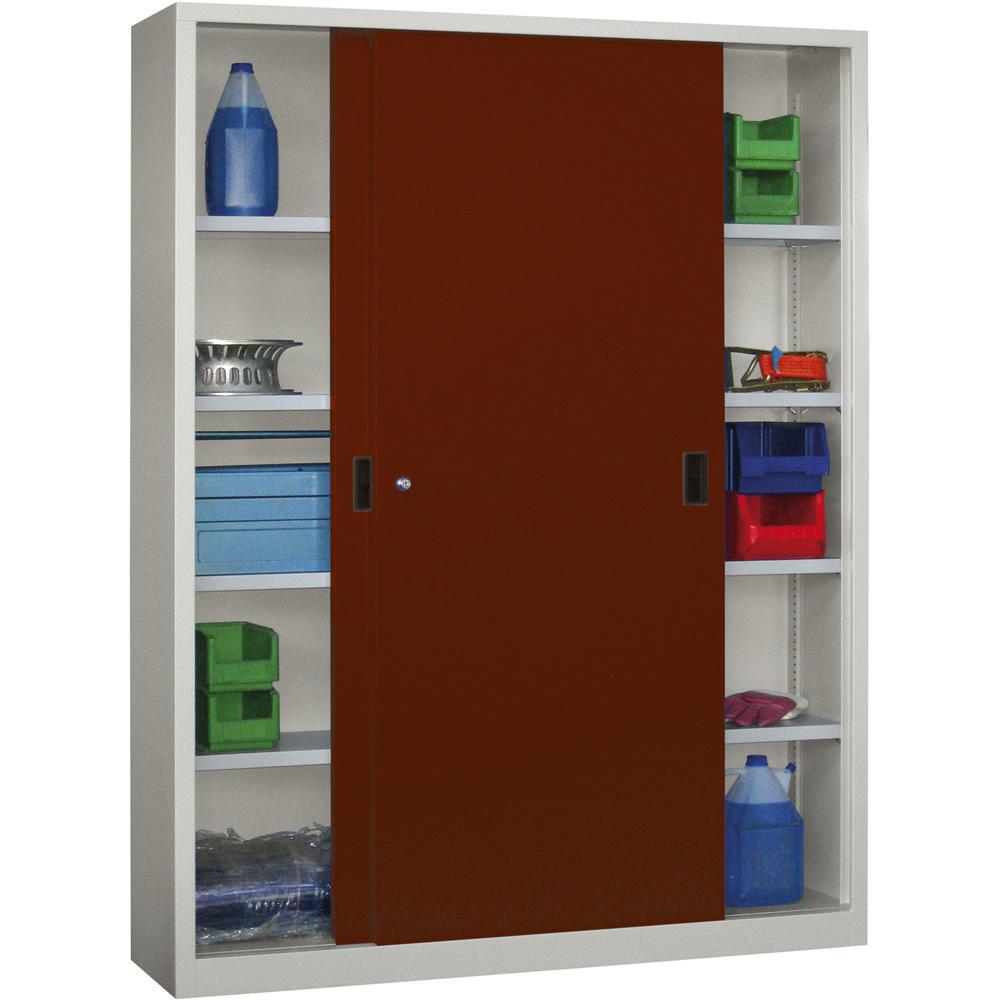schiebet ren stahlschrank system flex rubinrot ral 3003 1500 600 mit stahlt ren bequem. Black Bedroom Furniture Sets. Home Design Ideas