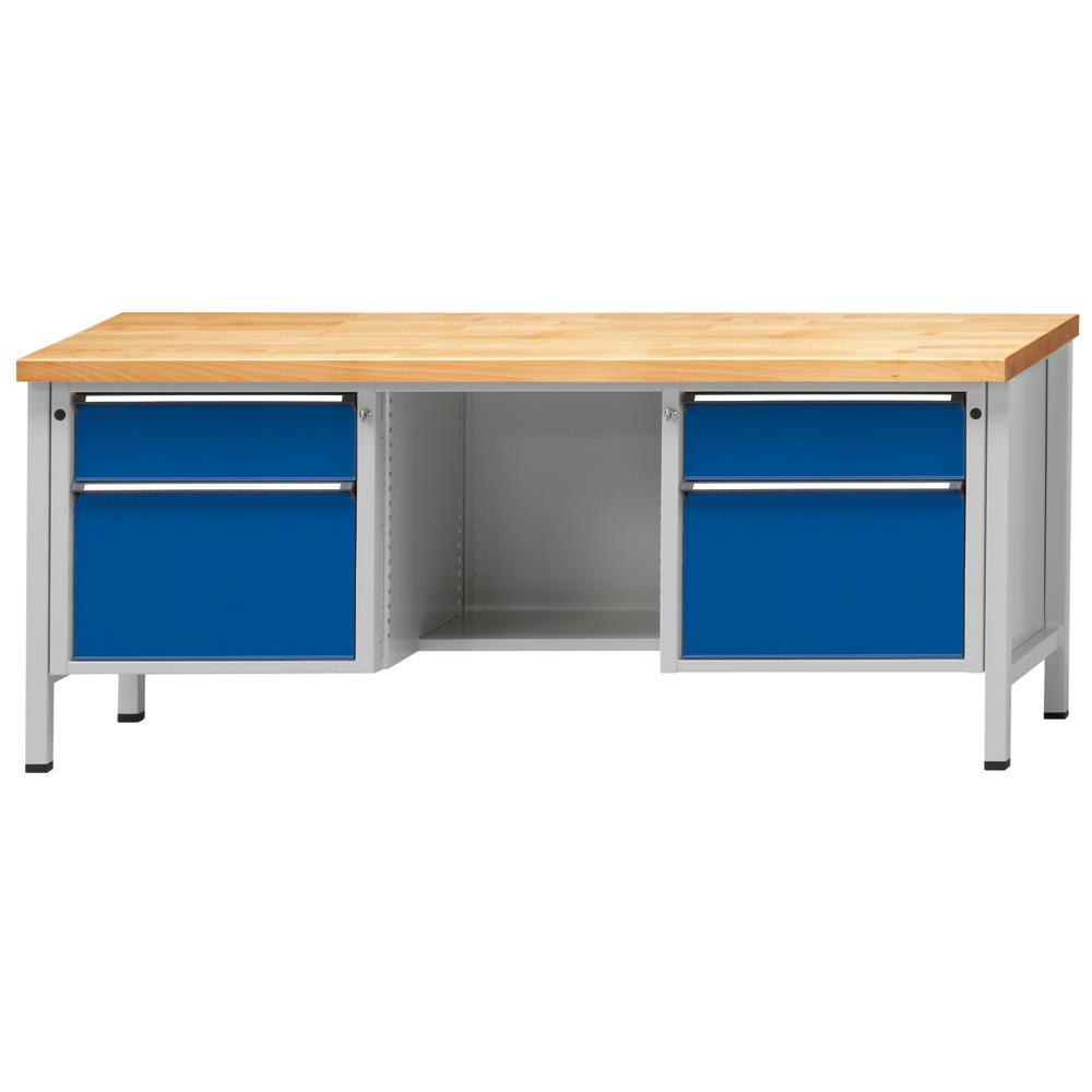 Werkbank serie ergo enzianblau ral 5010 buche massiv for Buche arbeitsplatte