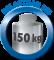 Tische bei gleichmäßig verteilter Last bis 150 kg belastbar.